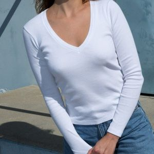 Brandy Melville Ribbed Long Sleeve VNeck